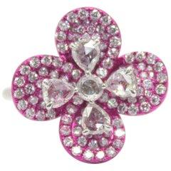 Panim Rosecut Diamond Flower Ring in 18 Karat White Gold