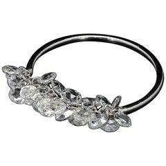 Panim Rosecut Diamond Fringe Dangling Ring in 18 Karat White Gold