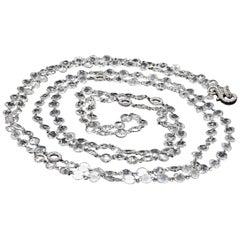 Panim Rosecut Diamond Link Chain Necklace in 18 Karat White Gold