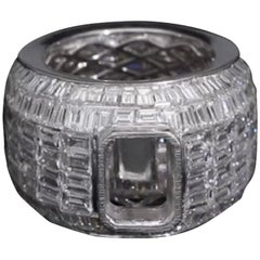 PANIM Semi Mount Baguette Diamond Cocktail Ring in 18 Karat White Gold