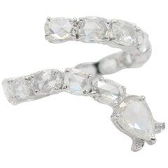 Panim Serpenti 18 Karat White Gold Diamond Rosecut Ring