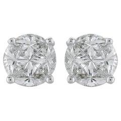 PANIM Signature Round Illusion Diamond Earring Stud in 18 Karat White Gold