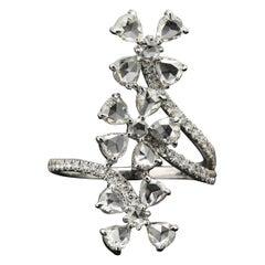 PANIM Trio Floral Diamond Rosecut Ring in 18 Karat White Gold