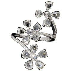 PANIM Trio Floral Ring with Diamond Rosecut in 18 Karat White Gold
