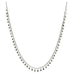 PANIM White Diamond Briolette Floating Necklace in 18 Karat White Gold