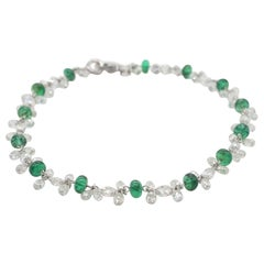 Panim White Gold and Emerald and Diamond Briollete Floral Bracelet
