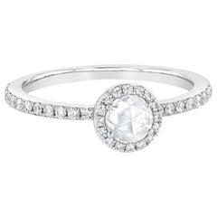 PANIM White Rosecut Diamond Solitaire Ring in 18 Karat White Gold