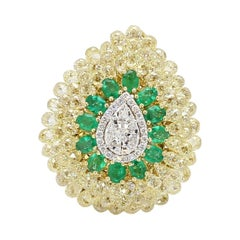 Panim Yellow Briolette & Pear Shape Illusion Diamond  Ring in 18k Yellow Gold