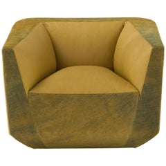 Panis Armchair in Yellow Melange Leather by Emanuel Gargano & Anton Cristell