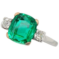 Panjshir Emerald and Diamond Ring