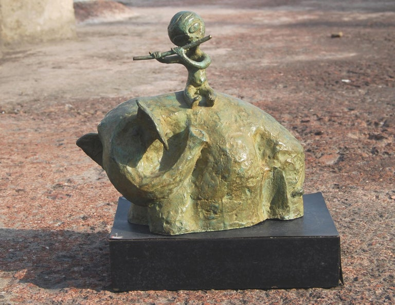 2 works in bronze brown, green, bronze sculpture by Contemporary Indian Artists - Sculpture by Pankaj Panwar