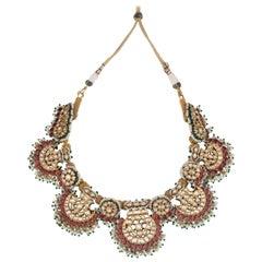 Pankhi Fan Necklace 22 Karat Gold, Uncut Diamonds Natural Pearls Emeralds Rubies