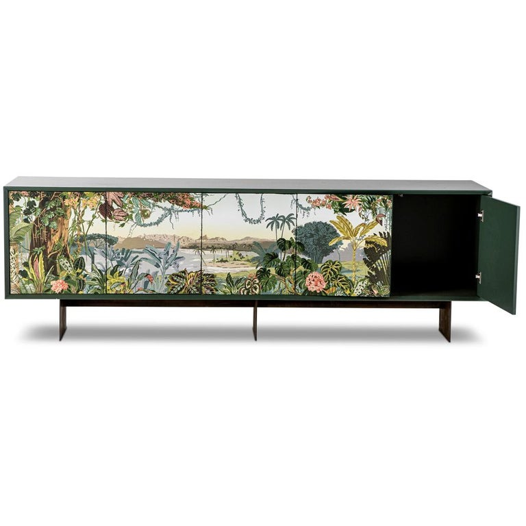 South African Panoramic Trompe L'Oeil Modern Sideboard Server Cabinet by Egg Designs For Sale