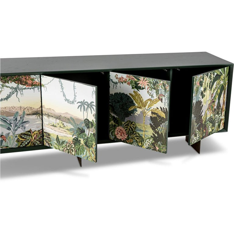 Bronzed Panoramic Trompe L'Oeil Modern Sideboard Server Cabinet by Egg Designs For Sale