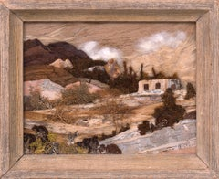 Hillside, New Mexico, Landscape with Adobe, Botanical Mixed Media Assemblage
