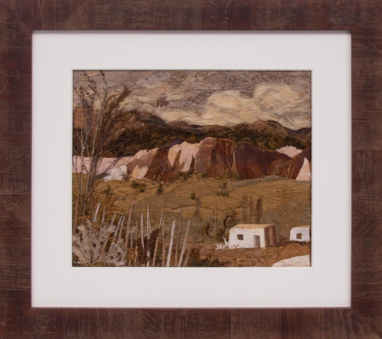 "Original vintage 1940s-1950s ""Sun Painting"" (a mixed media assemblage of botanical elements) of Pojoaque Valley, New Mexico, a landscape with adobe buildings and mountains by Colorado & New Mexico woman artist, Pansy Stockton (1895-1972). Presented"