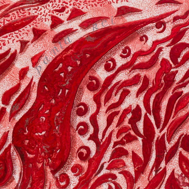 Modern Red Abstract Wall Panel Scagliola Art Decoration in relief white wooden frame For Sale