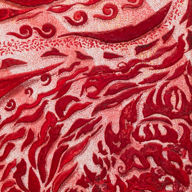 Italian Red Abstract Wall Panel Scagliola Art Decoration in relief white wooden frame For Sale