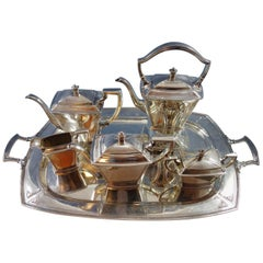 Pantheon by International Sterling Silver Tea Set of 5-Piece with Tray