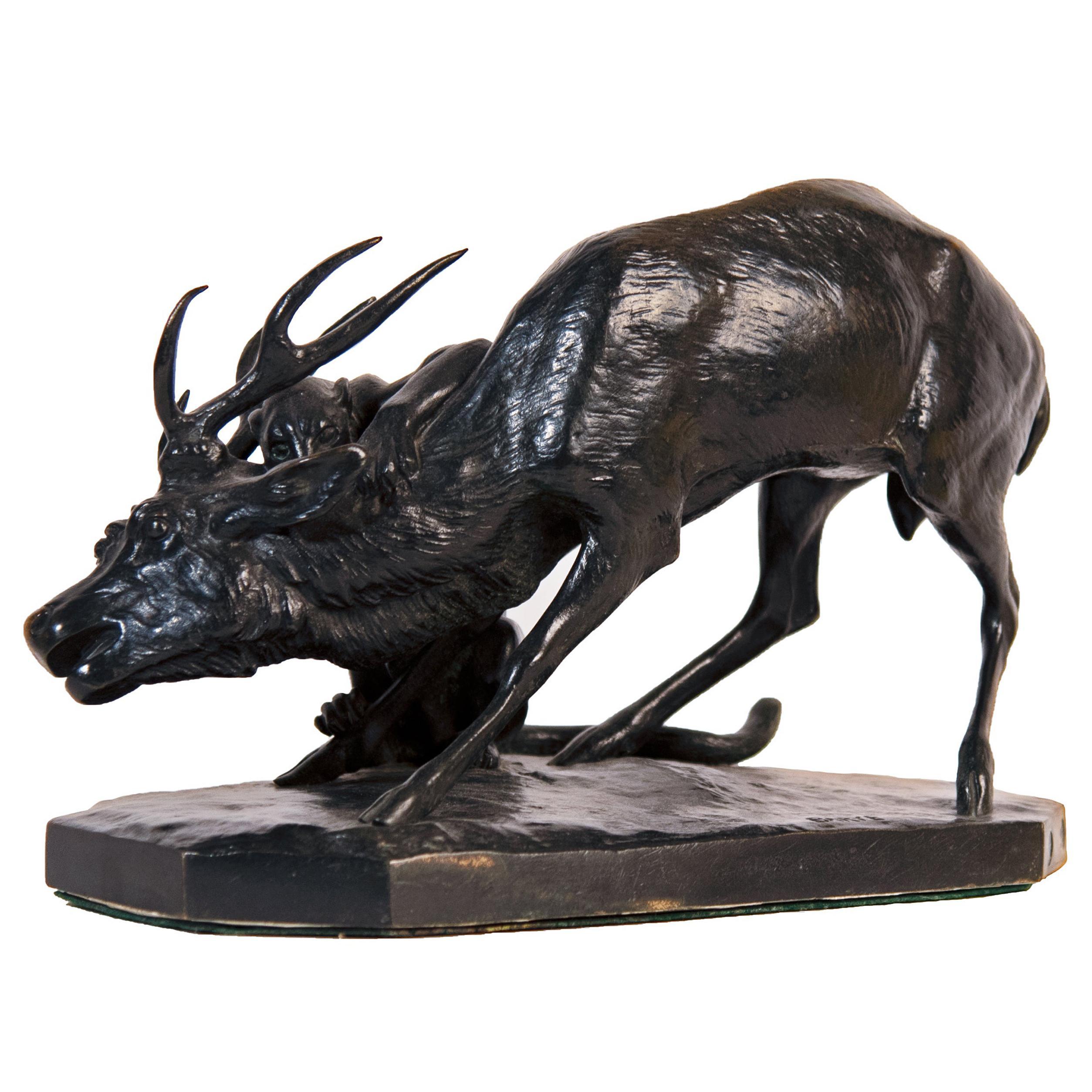 """""""Panther Attacking a Stag"""" by Antoine-Louis Barye"""
