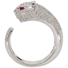Panther Diamond and Ruby Ring Made in 18 Karat White Gold