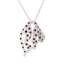 Panther Diamond, Onyx and Tsavorite 18K White Gold Designer Necklace
