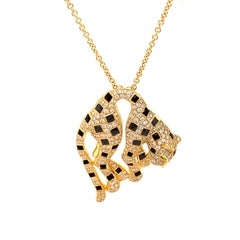 Panther Diamond, Onyx and Tsavorite 18K Yellow Gold Designer Necklace