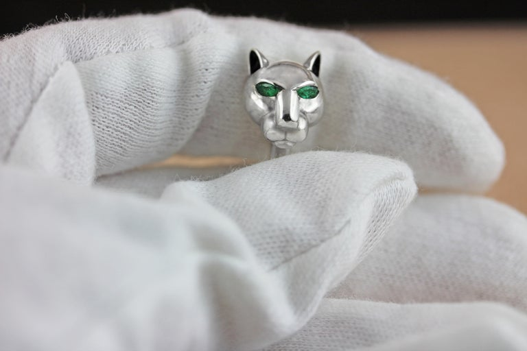 Silver 925 panther cufflinks embellished by emeralds on his eyes and a half sphere in malachite , ears with black enamel.  All AVGVSTA jewelry is new and has never been previously owned or worn.  Each item will arrive beautifully gift wrapped in a