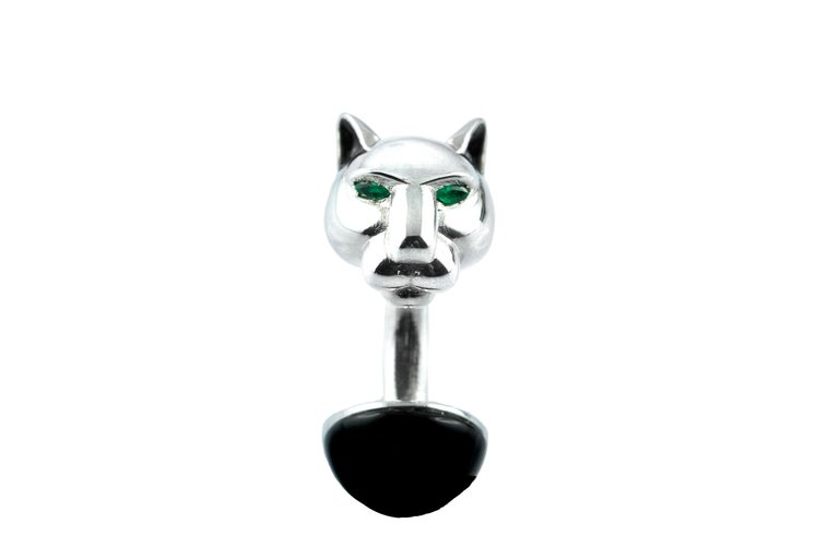 Panther Emeralds Onyx Black Enamel Silver Cufflinks In New Condition For Sale In Milano, IT