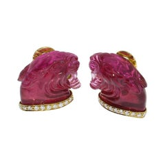 Panther Head Tourmaline Diamond Gold Ear Clips