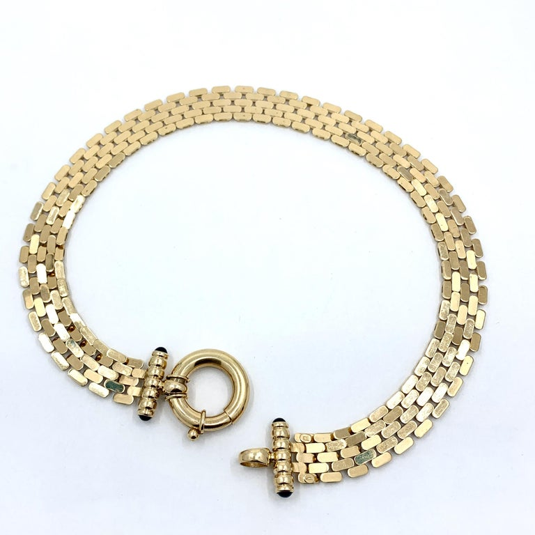 Panther Link Chain Necklace with Oversized Bolt Ring in Yellow Gold For Sale 4
