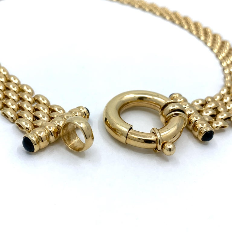 Panther Link Chain Necklace with Oversized Bolt Ring in Yellow Gold For Sale 5