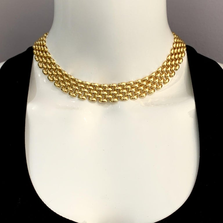 Contemporary Panther Link Chain Necklace with Oversized Bolt Ring in Yellow Gold For Sale