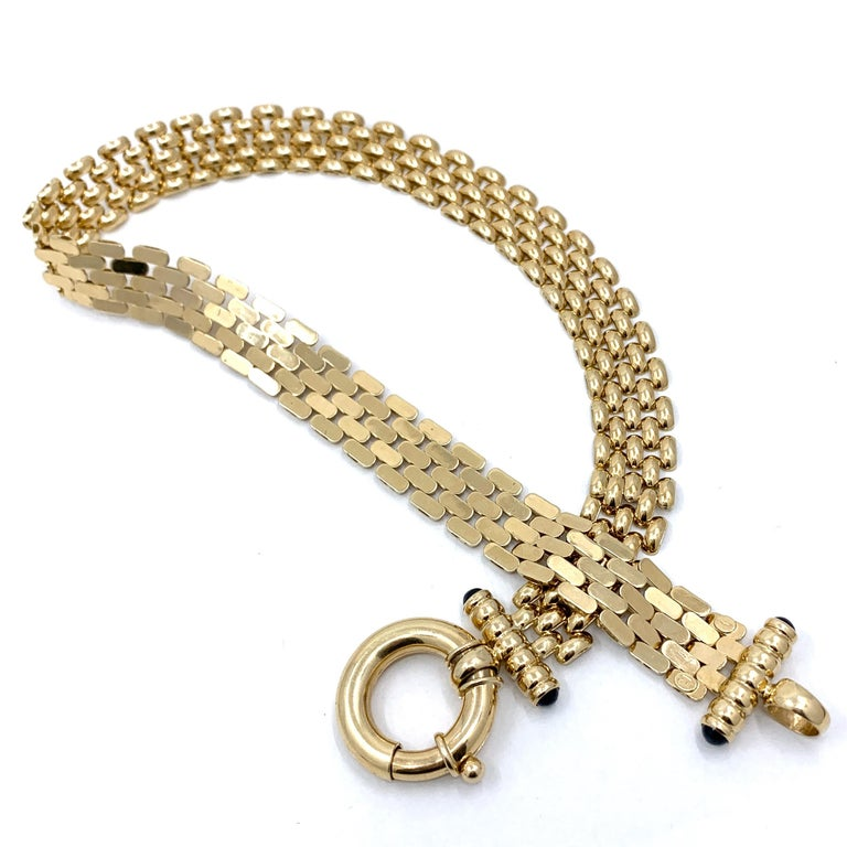 Panther Link Chain Necklace with Oversized Bolt Ring in Yellow Gold For Sale 3