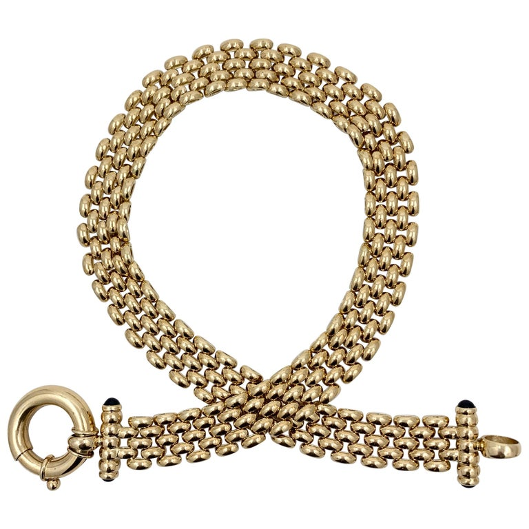 Panther Link Chain Necklace with Oversized Bolt Ring in Yellow Gold For Sale