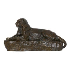 """""""Panther of India, no. 1"""" French Bronze Sculpture after Barye, F. Barbedienne"""