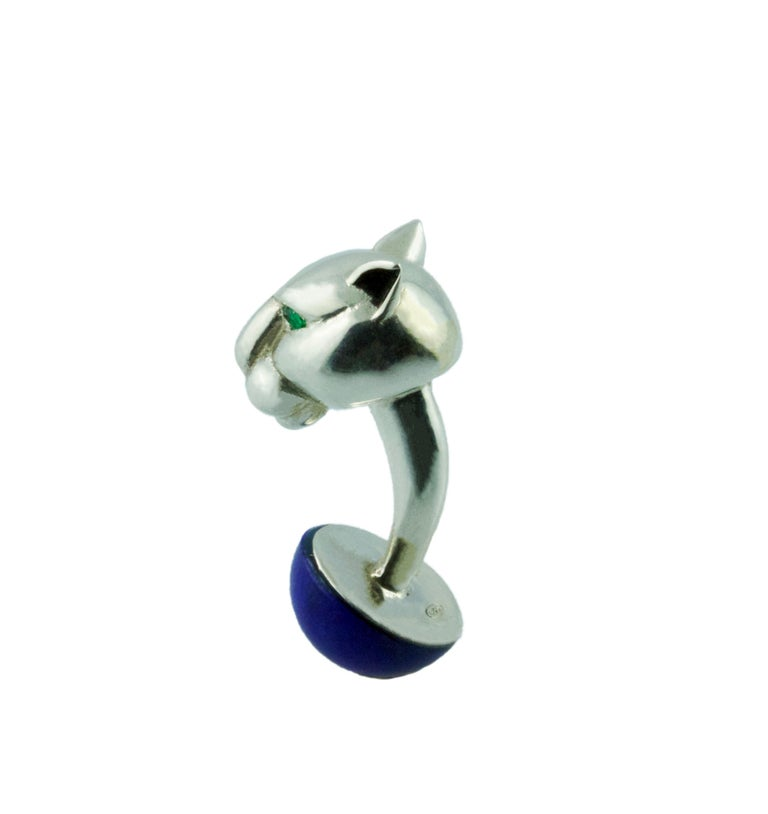 Panther Emerald Lapis Lazuli Enamel Silver Cufflinks In New Condition For Sale In Milano, IT