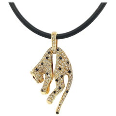 Panther Pendant with Diamonds, Sapphire, Ruby