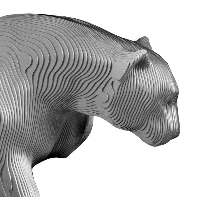 Sculpture Panther polished made with 154 aluminium hand-crafted plates. Exceptional piece made in welded  and shaped aluminium into masterful works of contemporary art.