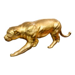 Panther Sculpture Resin in Gold Finish Eyes in Swarovski Crystal