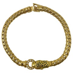 Panther White Diamond and Yellow Gold Bracelet in 18 Karat
