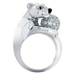 Panthere De Cartier 1.00 Carat Diamond Ring in 18 Karat Gold, French Hallmarks