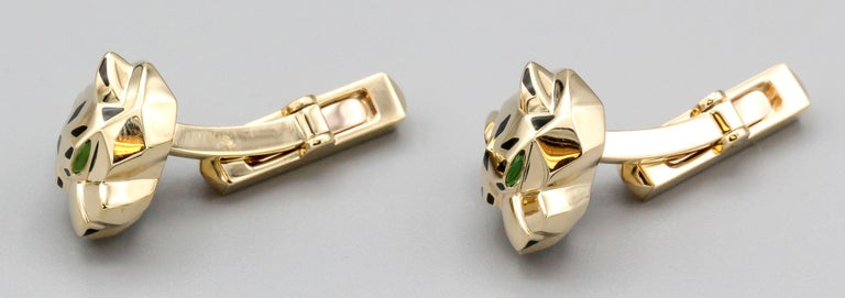 Panthère De Cartier 18 Karat Gold Cufflinks In Excellent Condition For Sale In New York, NY