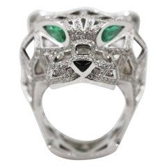 Panthere de Cartier 18 Karat White Gold Emeralds Onyx Diamond Ring