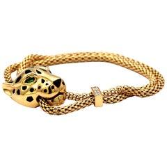 Panthère De Cartier Bracelet 18 Karat Gold with Diamonds and Tsavorite Garnets