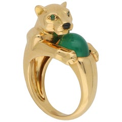 Panthère de Cartier Chalcedony, Emerald and Onyx Panther Ring in 18 Karat Gold