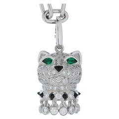 Panthere De Cartier Diamond, Emerald and Onyx Panther Head Pendant in 18kw Gold