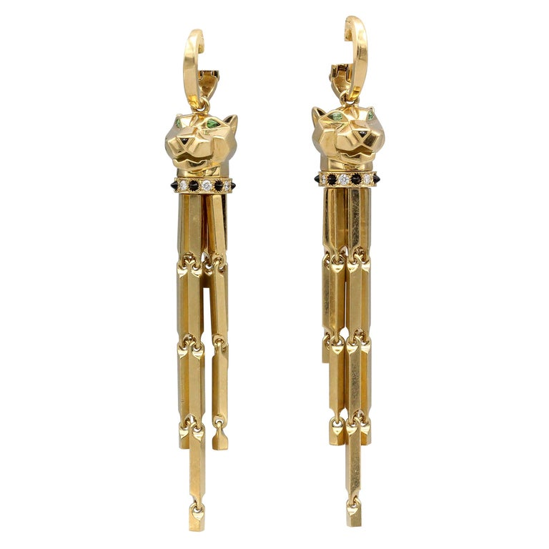 Panthere de Cartier Diamond Onyx and 18 Karat Gold Drop Earrings For Sale