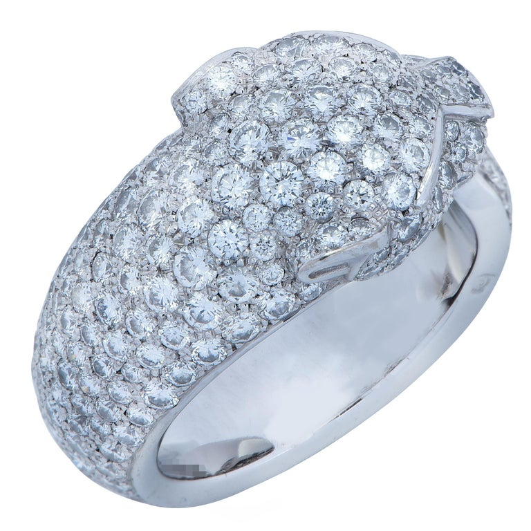 Women's Panthere de Cartier Diamond Ring For Sale