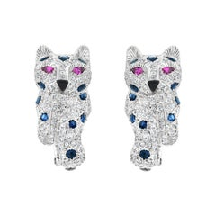 Panthere de Cartier Diamond, Sapphire, and Ruby Earrings in Platinum